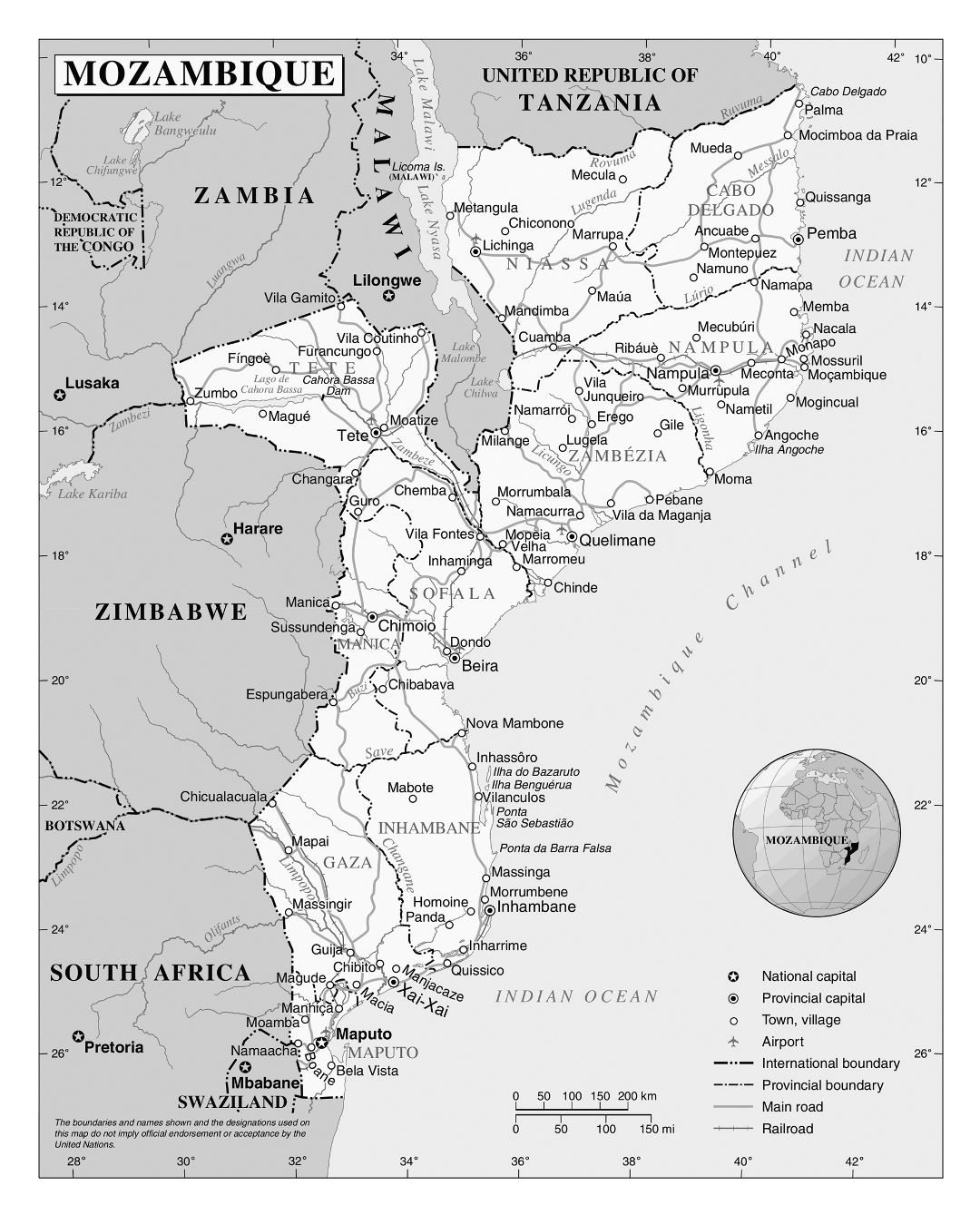 Large detailed political and administrative map of Mozambique with all roads, railroads, cities and airports