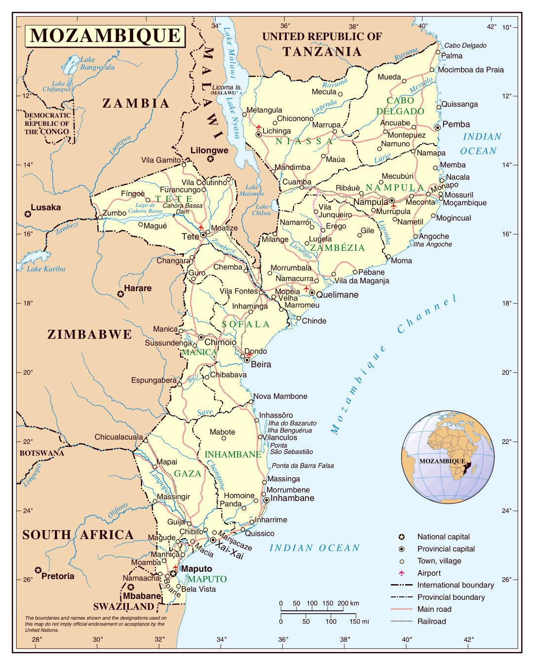 Large detailed political and administrative map of Mozambique with cities, roads, railroads and airports