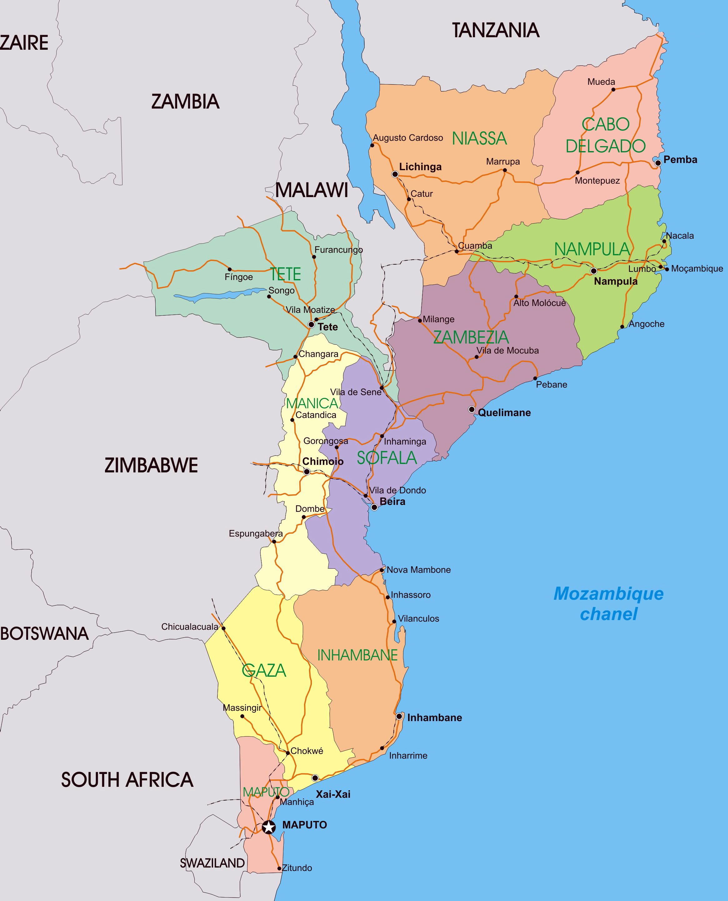 Large detailed political and administrative map of Mozambique
