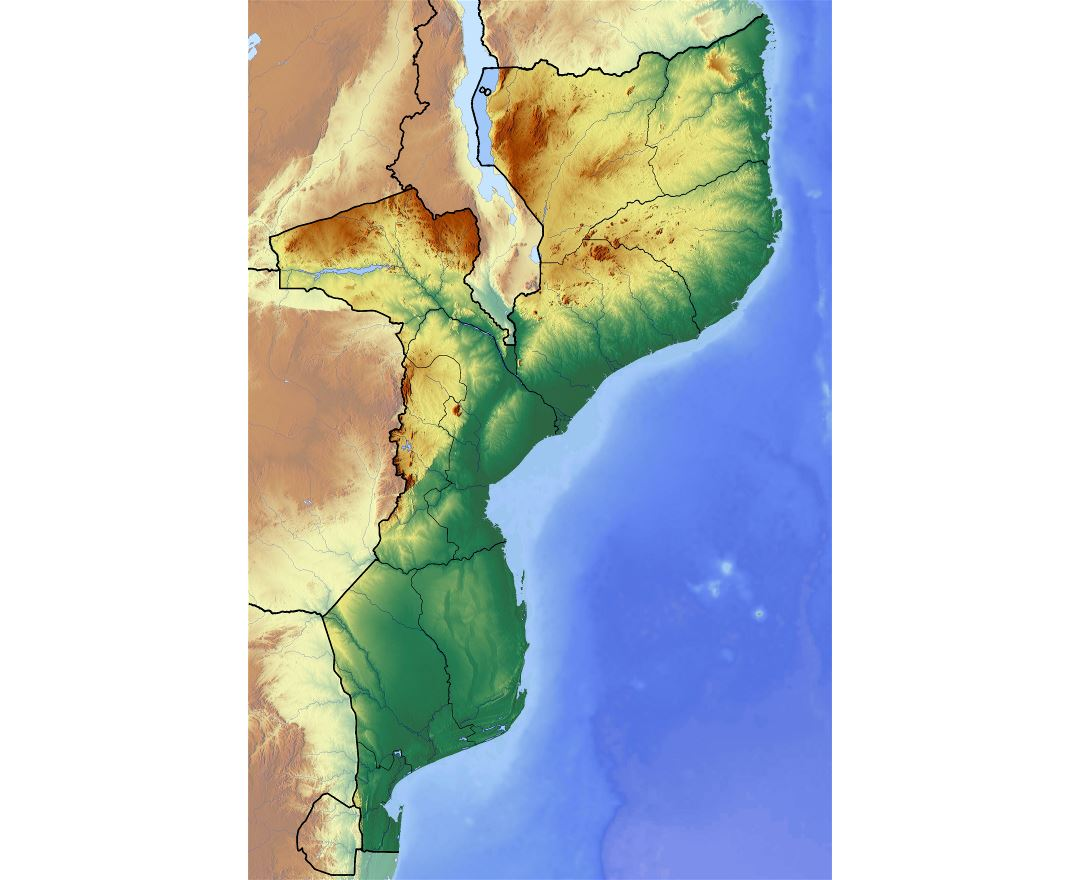 Large detailed topographic map of Mozambique