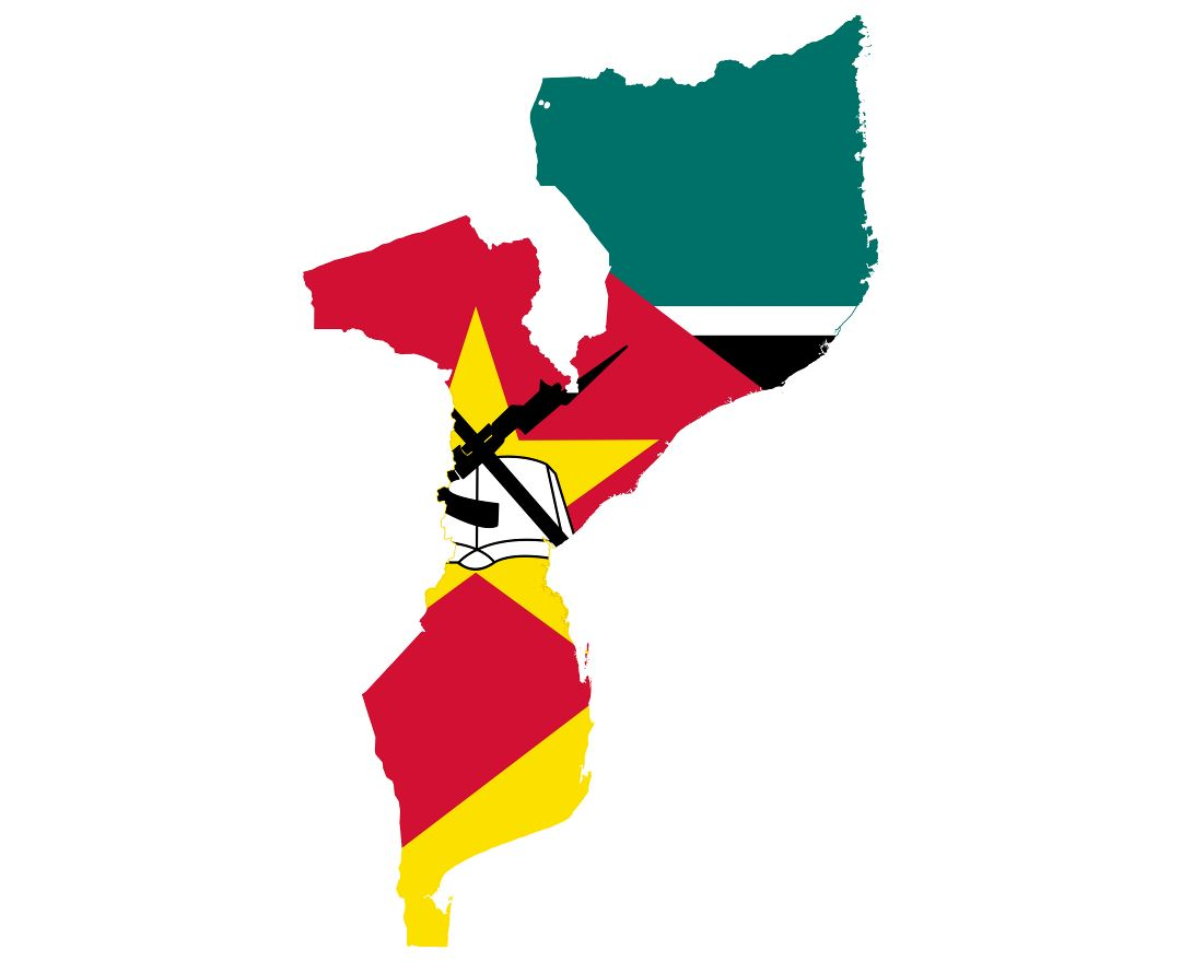 Large flag map of Mozambique