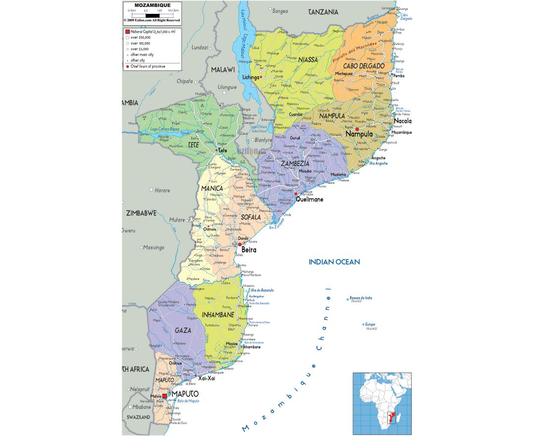 Large political and administrative map of Mozambique with roads, cities and airports