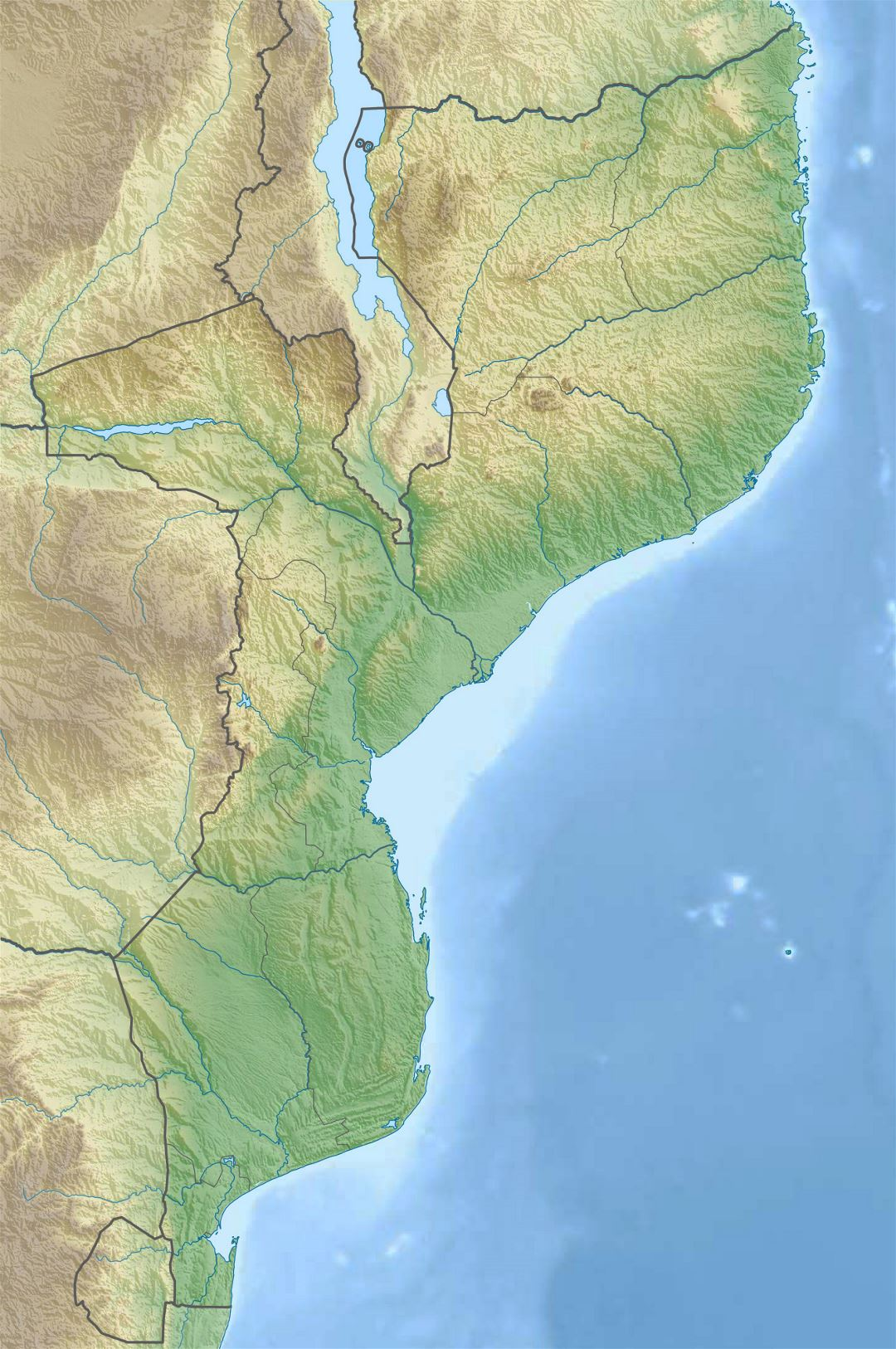 Large relief map of Mozambique
