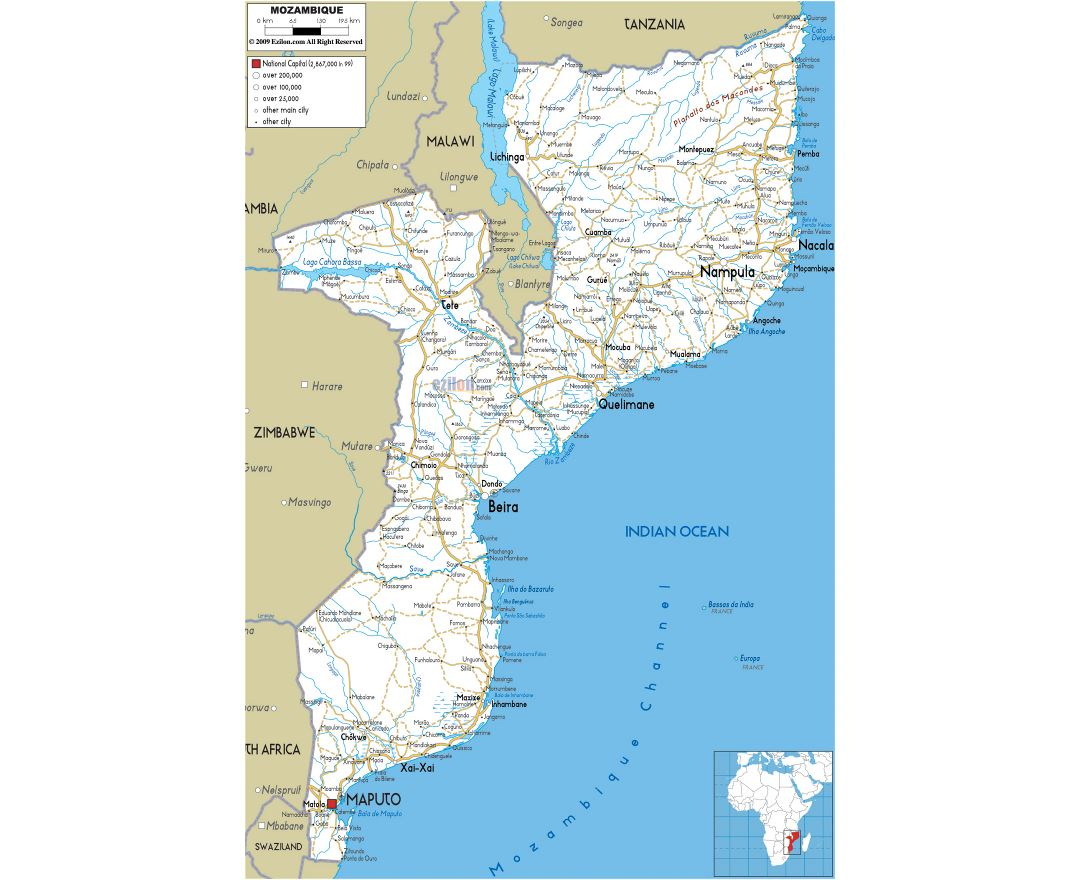 Large road map of Mozambique with cities and airports
