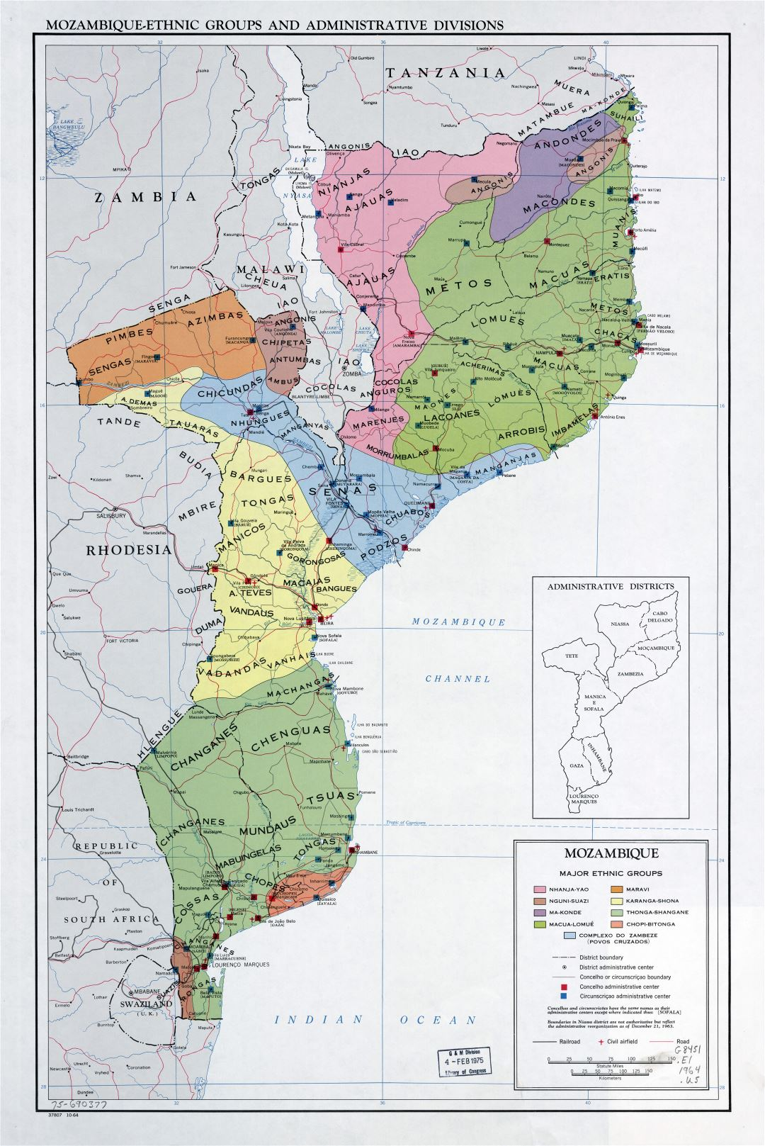 Large scale detailed map of Mozambique-Ethnic Groups and Administrative Divisions - 1964