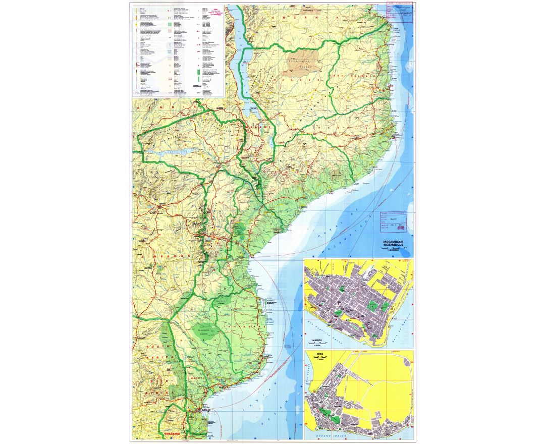 Large scale detailed map of Mozambique