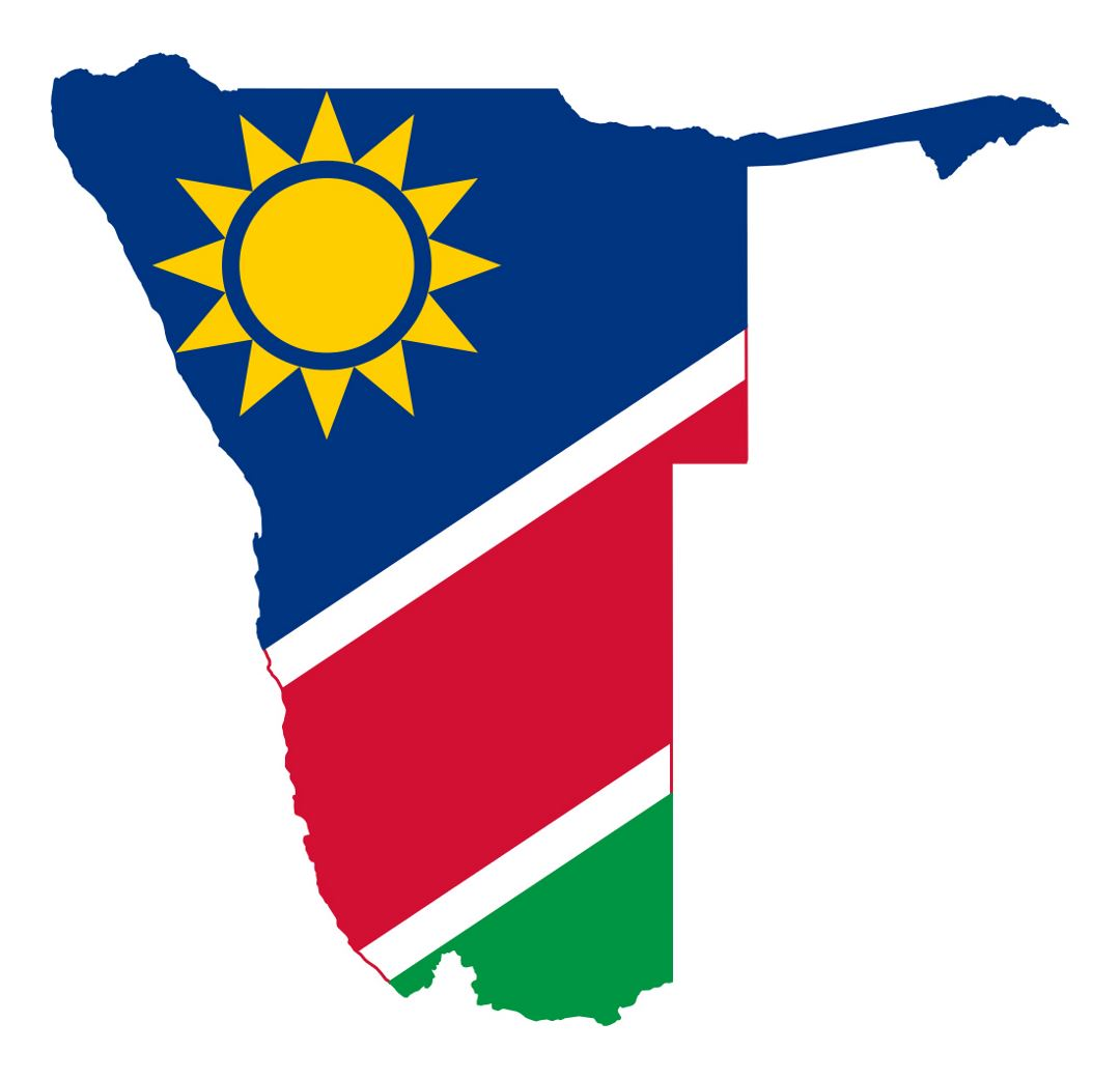 Detailed flag map of Namibia