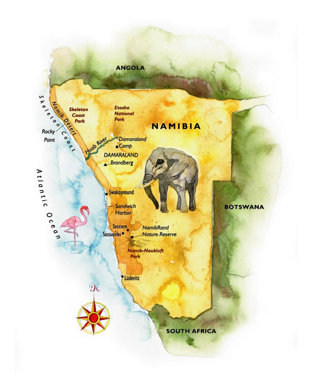Detailed illustrated map of Namibia