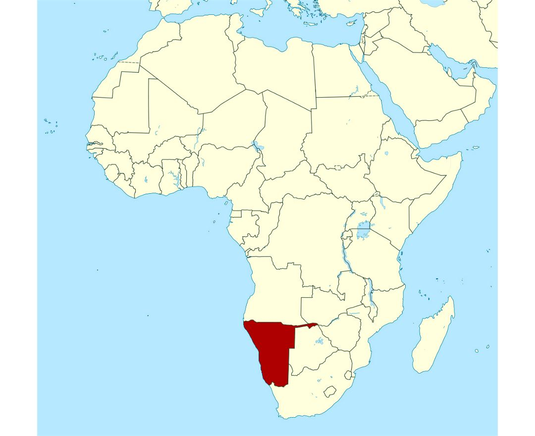 detailed location map of namibia in africa preview