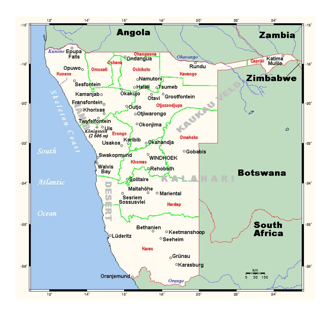 Detailed map of Namibia with cities