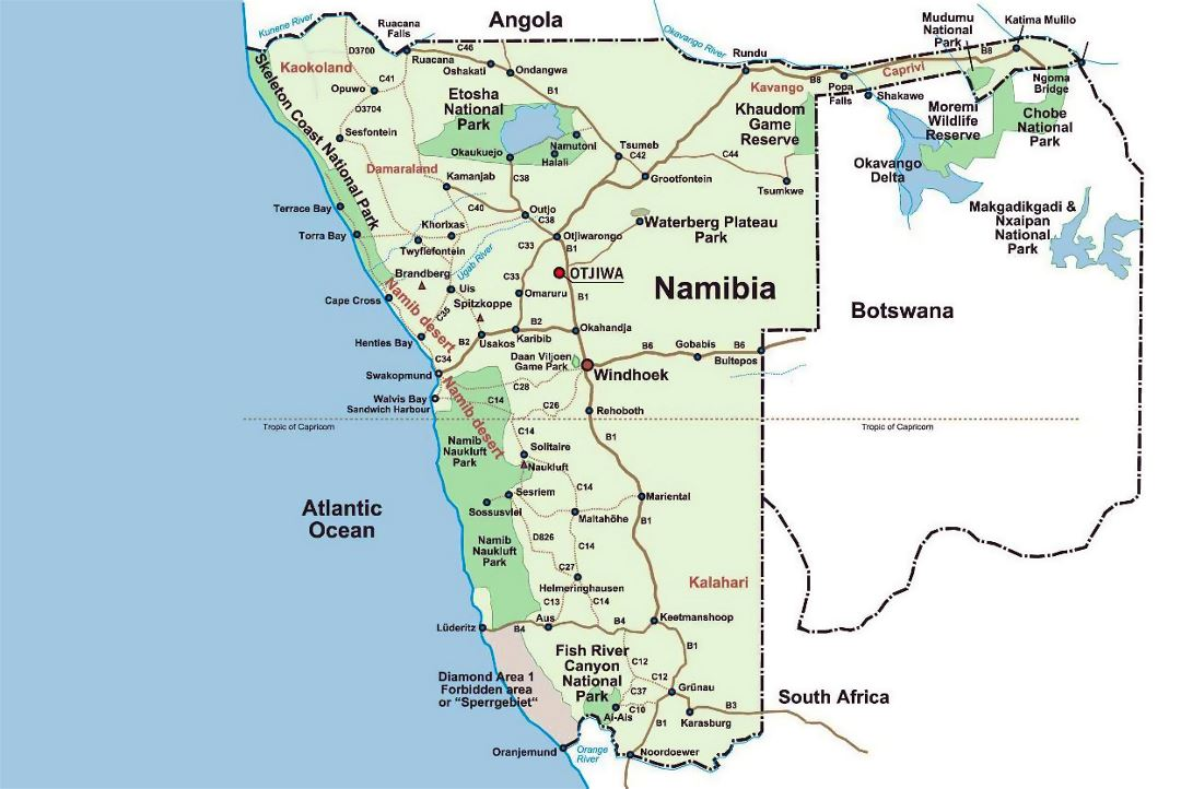 Detailed national parks map of Namibia and Botswana