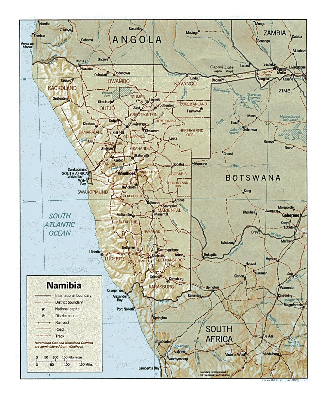 Detailed political and administrative map of Namibia with relief, roads, railroads and major cities - 1990