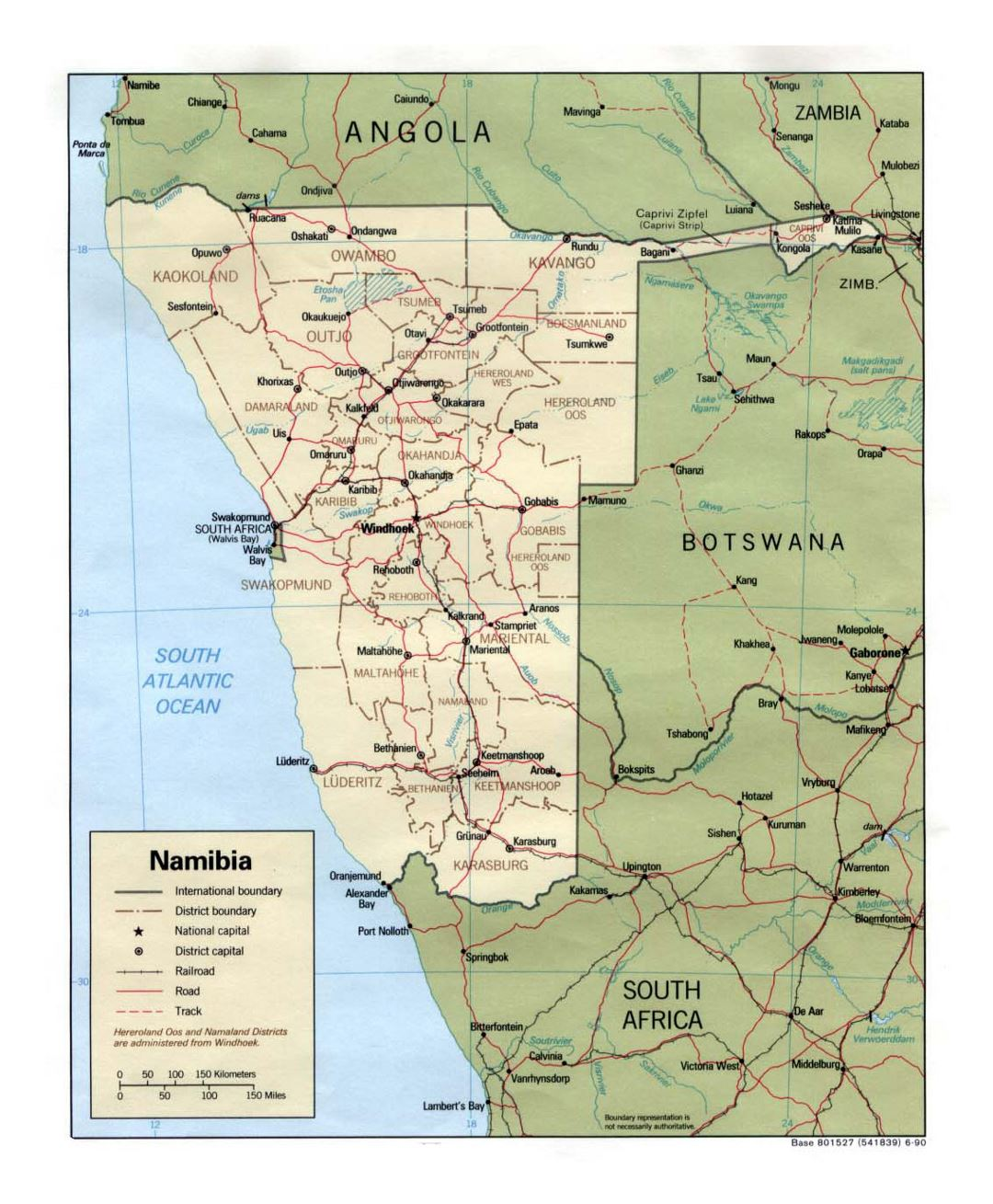 Detailed political and administrative map of Namibia with roads, railroads and major cities - 1990