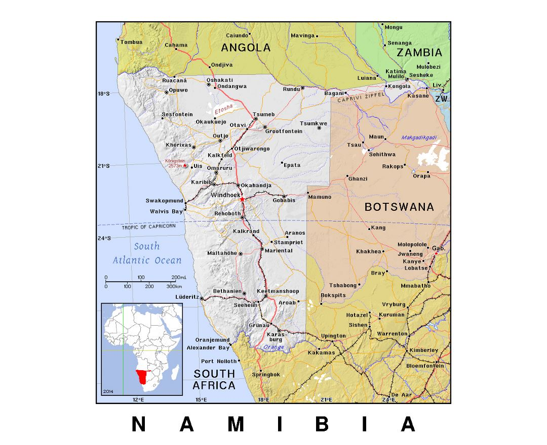 Maps of Namibia Detailed map of Namibia in English Tourist map
