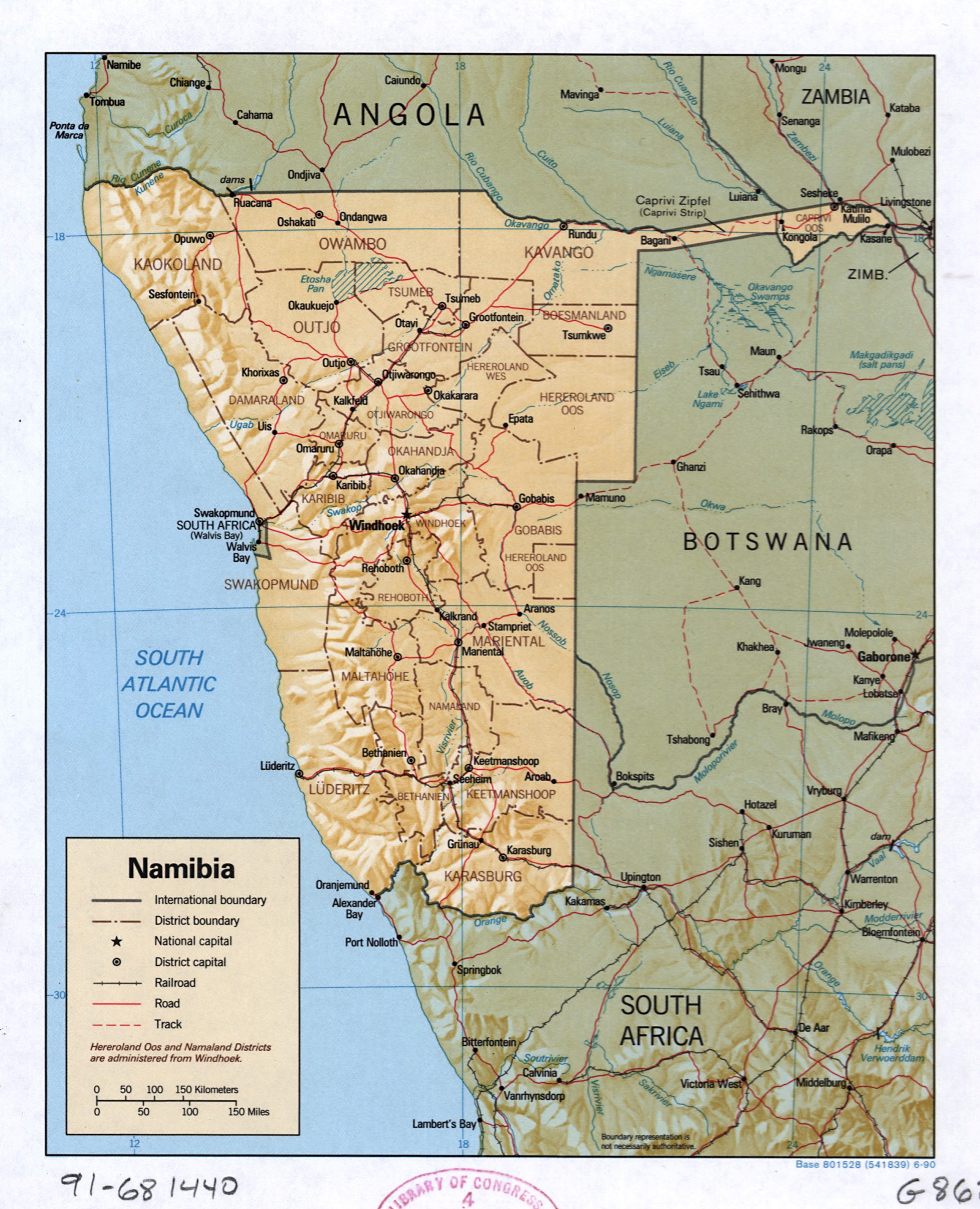 Large detailed political and administrative map of Namibia with