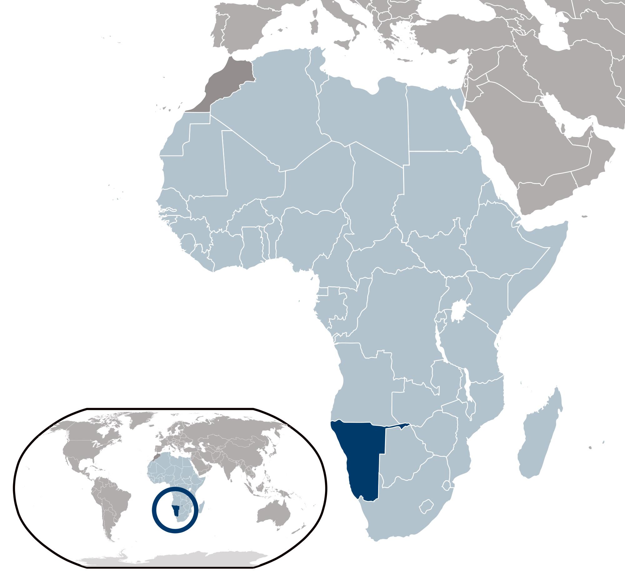 Large location map of Namibia Namibia Africa Mapsland Maps