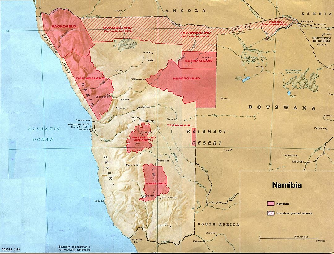 Large map of Namibia Homelands - 1978