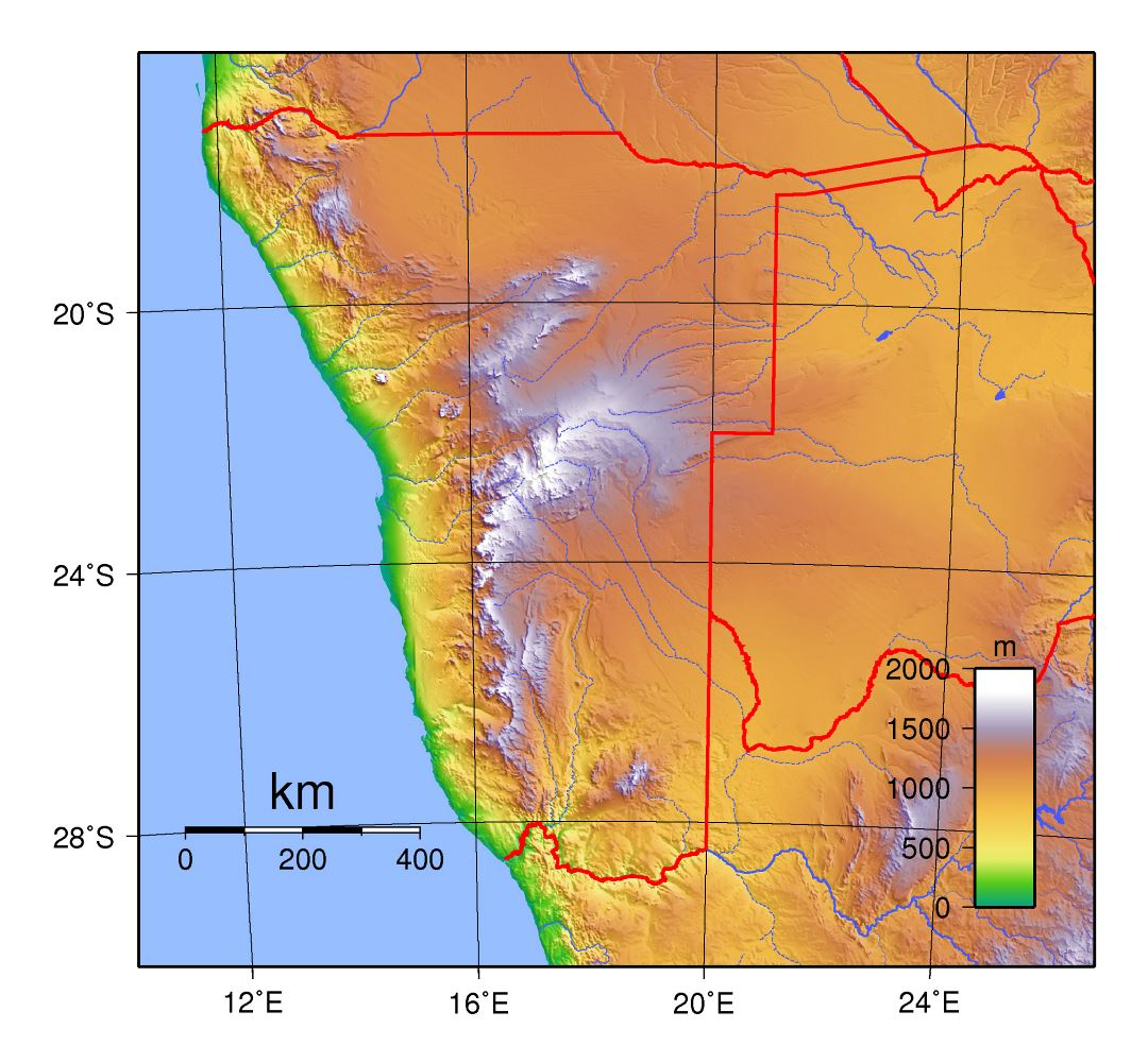 Large physical map of Namibia