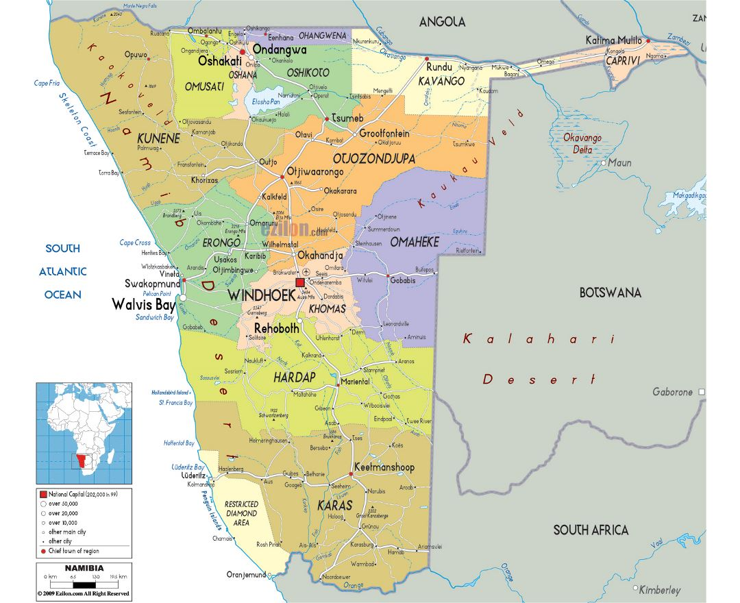 Maps Of Namibia Detailed Map Of Namibia In English Tourist Map - Political map of angola