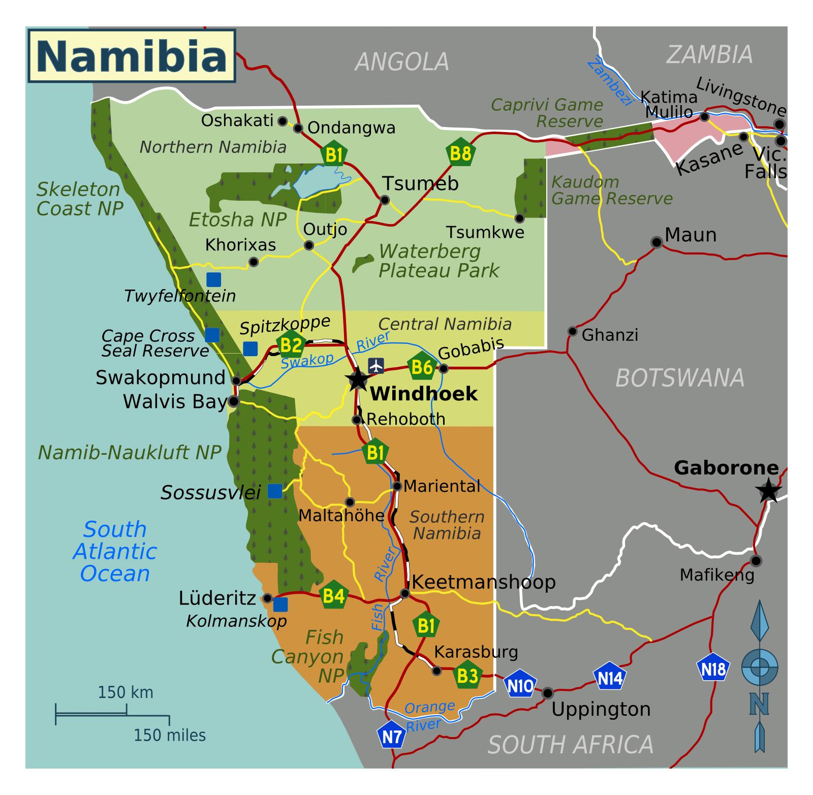 Large regions map of Namibia | Namibia | Africa | Mapsland ...