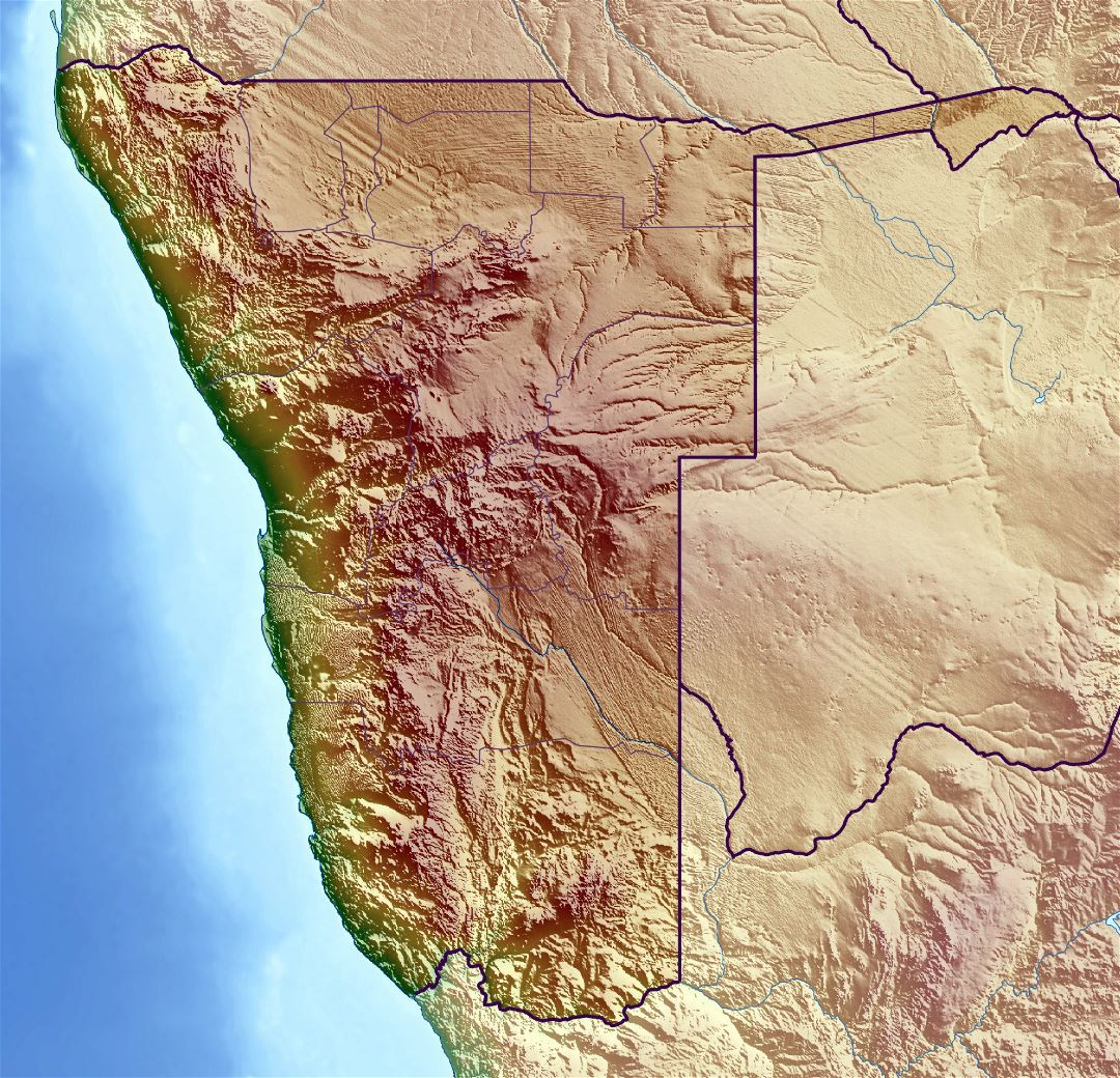 Large relief map of Namibia