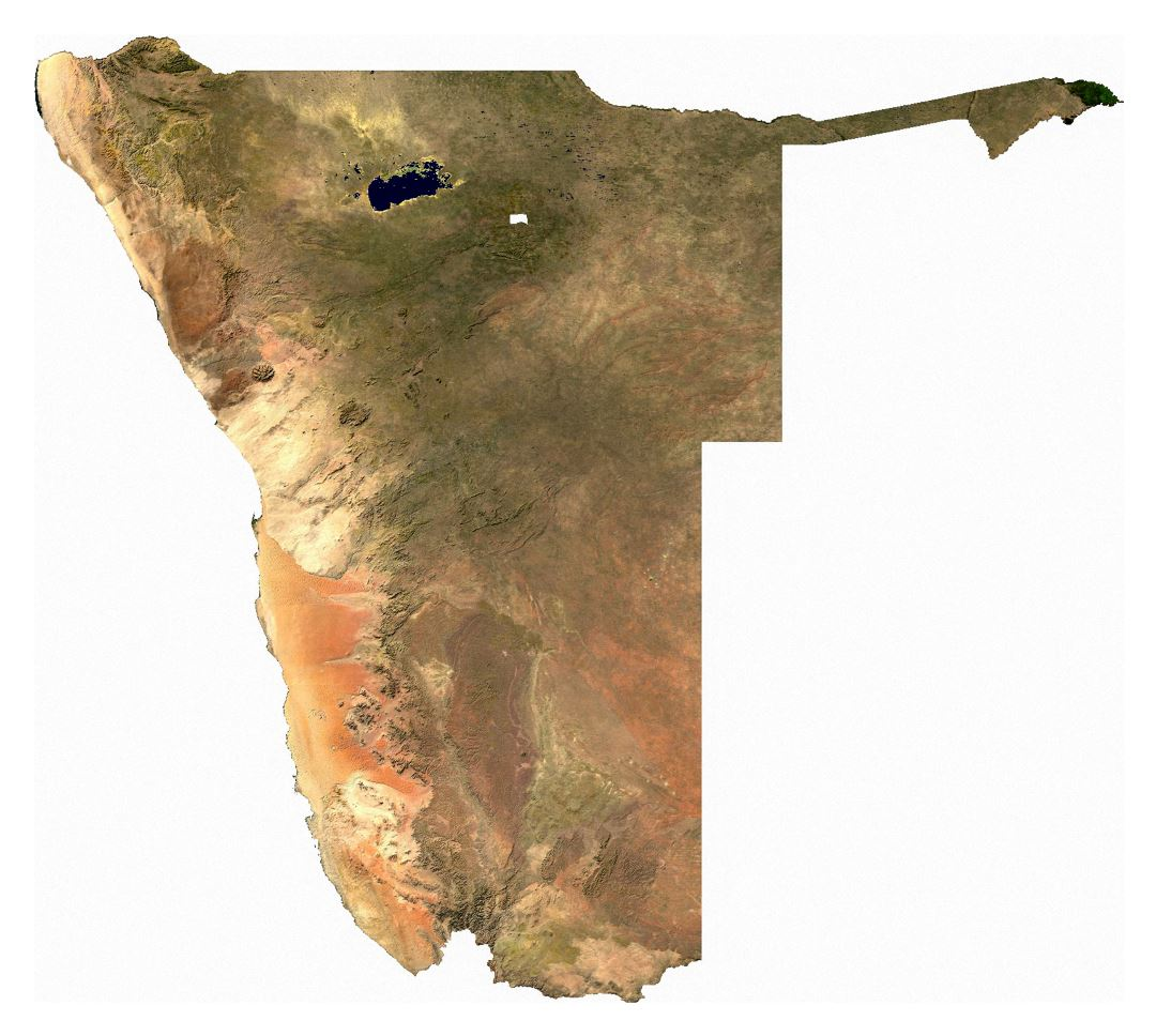 Large satellite map of Namibia