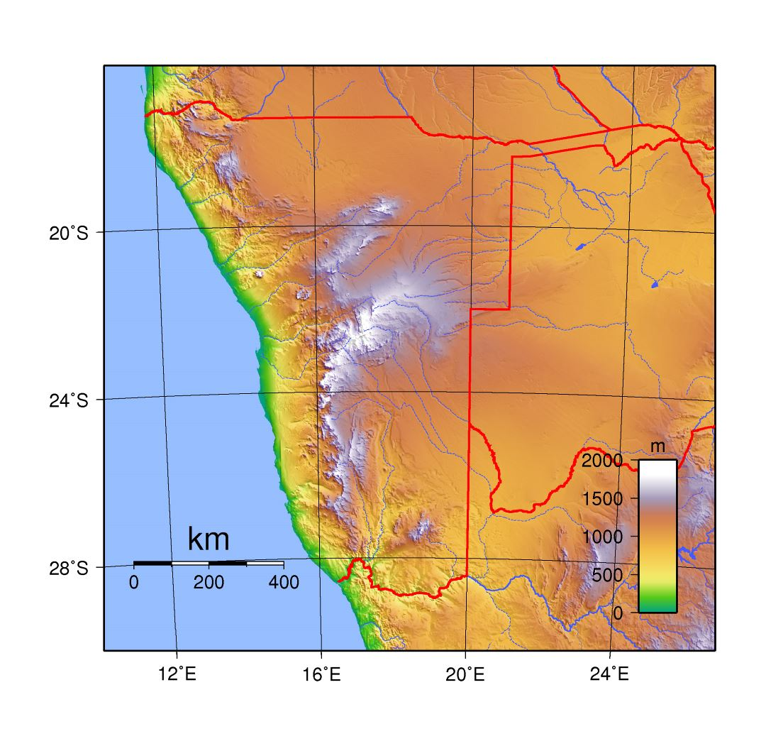 Large topographic map of Namibia