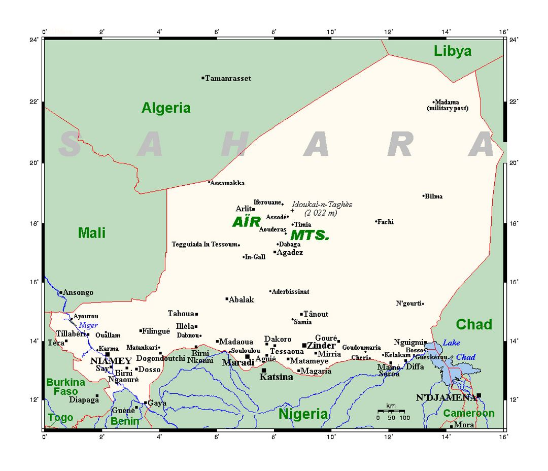 Detailed map of Niger with cities