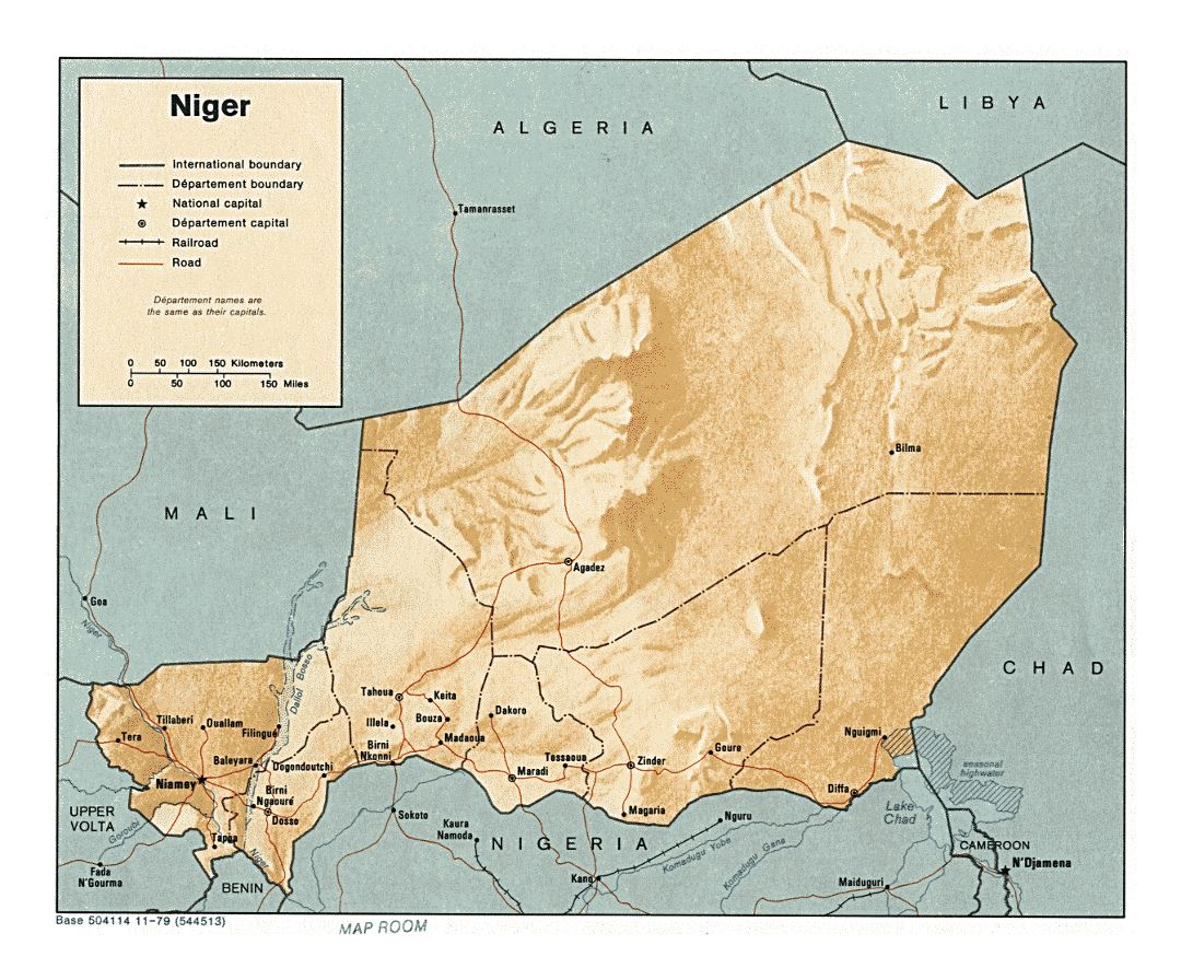 Detailed political and administrative map of Niger with relief, roads, railroads and cities - 1979