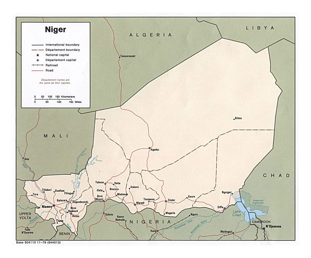 Detailed political and administrative map of Niger with roads, railroads and cities - 1979
