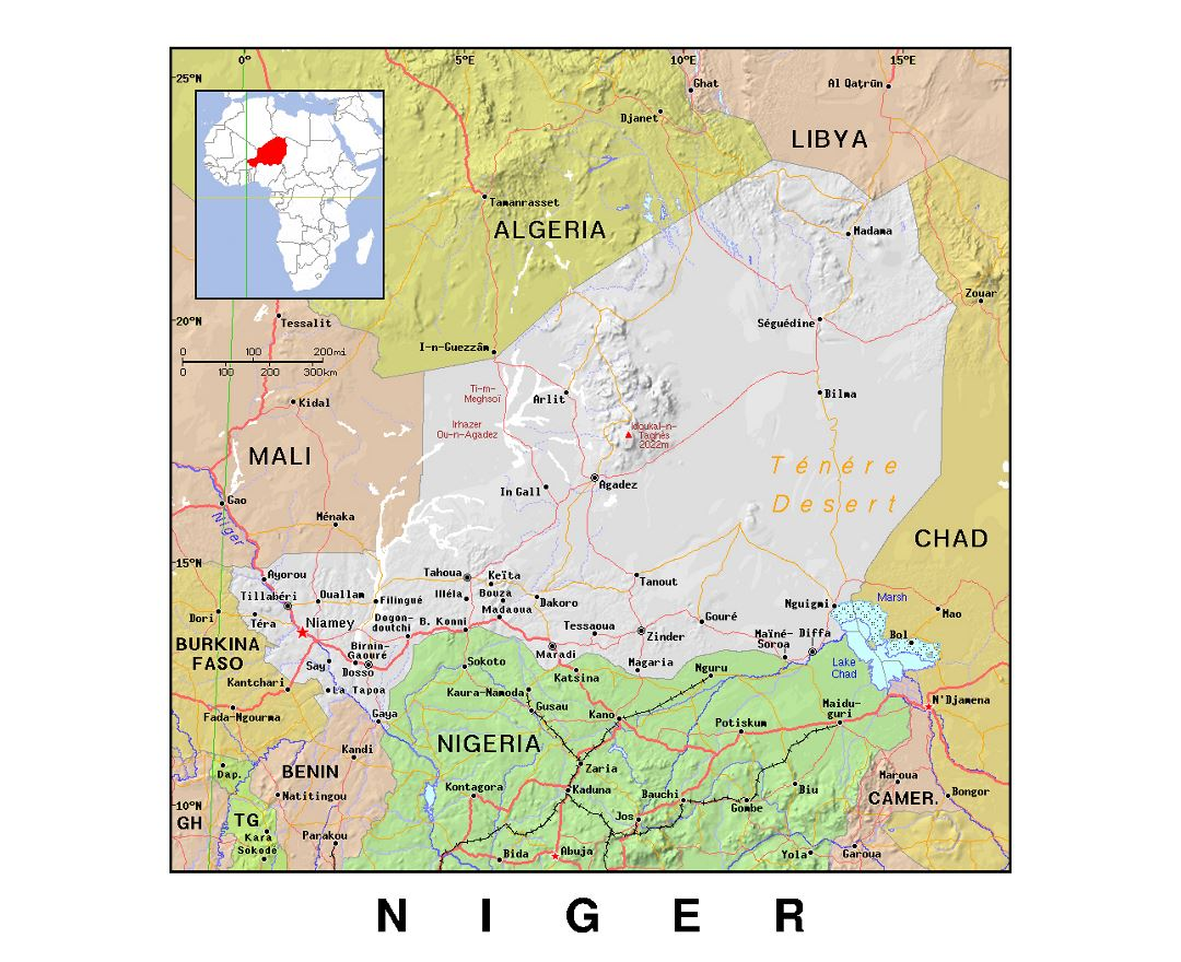 Maps of Niger | Collection of maps of Niger | Africa | Mapsland ...