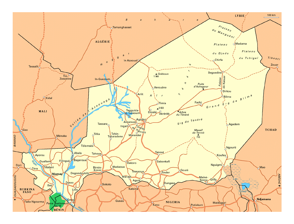 Detailed Road Map Of Niger With Cities Niger Africa Mapsland - Niger map