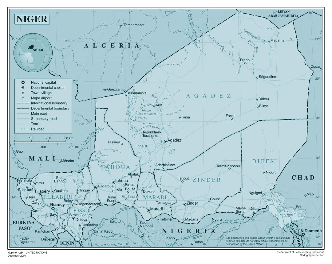 Large detailed political and administrative map of Niger with all roads, railroads, cities and airports