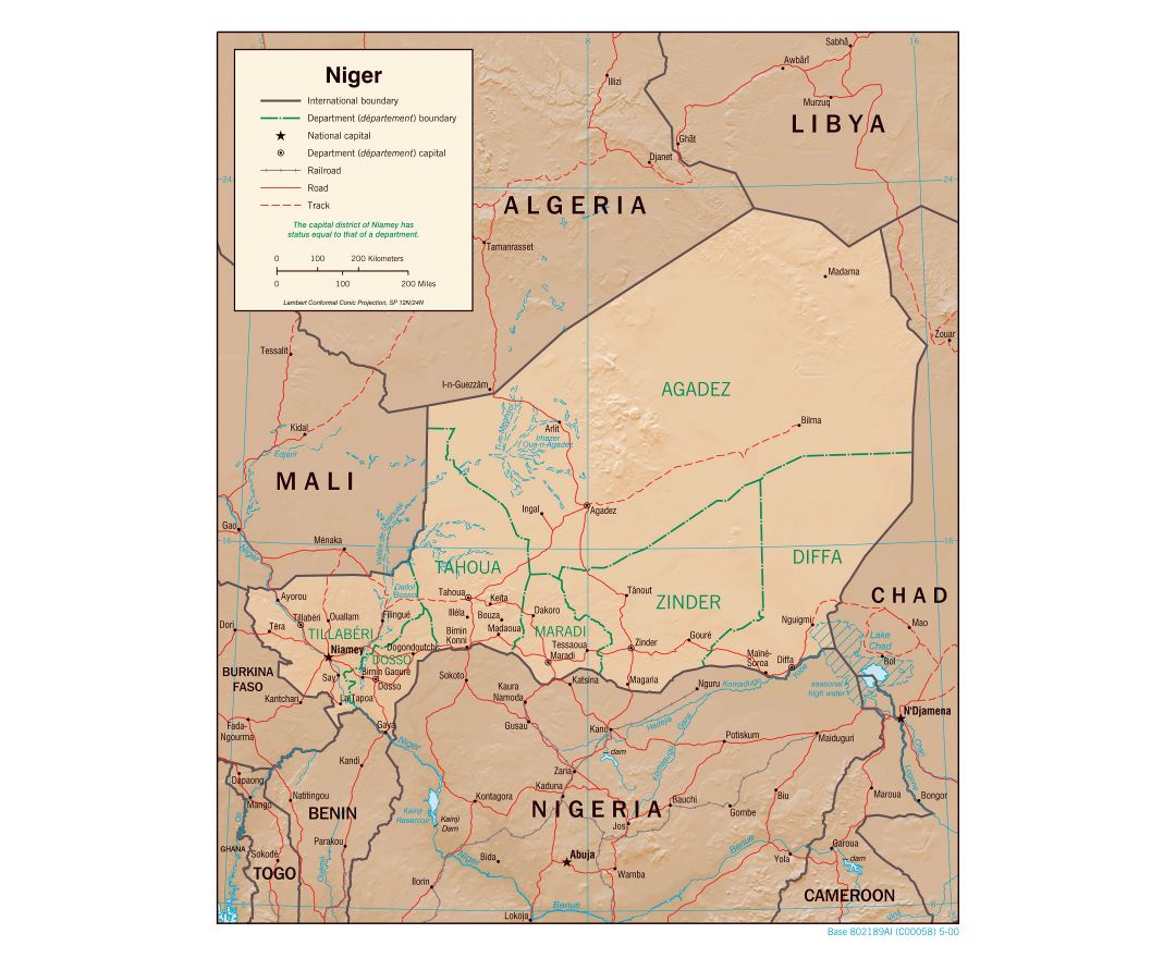 Maps of Niger Detailed map of Niger in English Tourist map