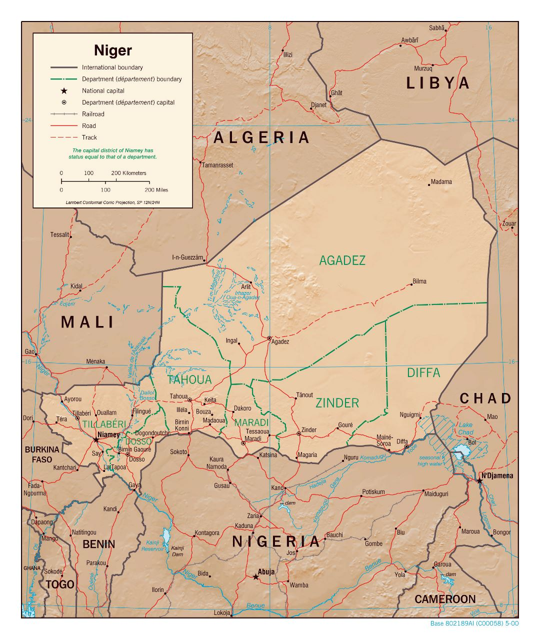Large detailed political and administrative map of Niger with relief, roads, railroads and major cities - 2000