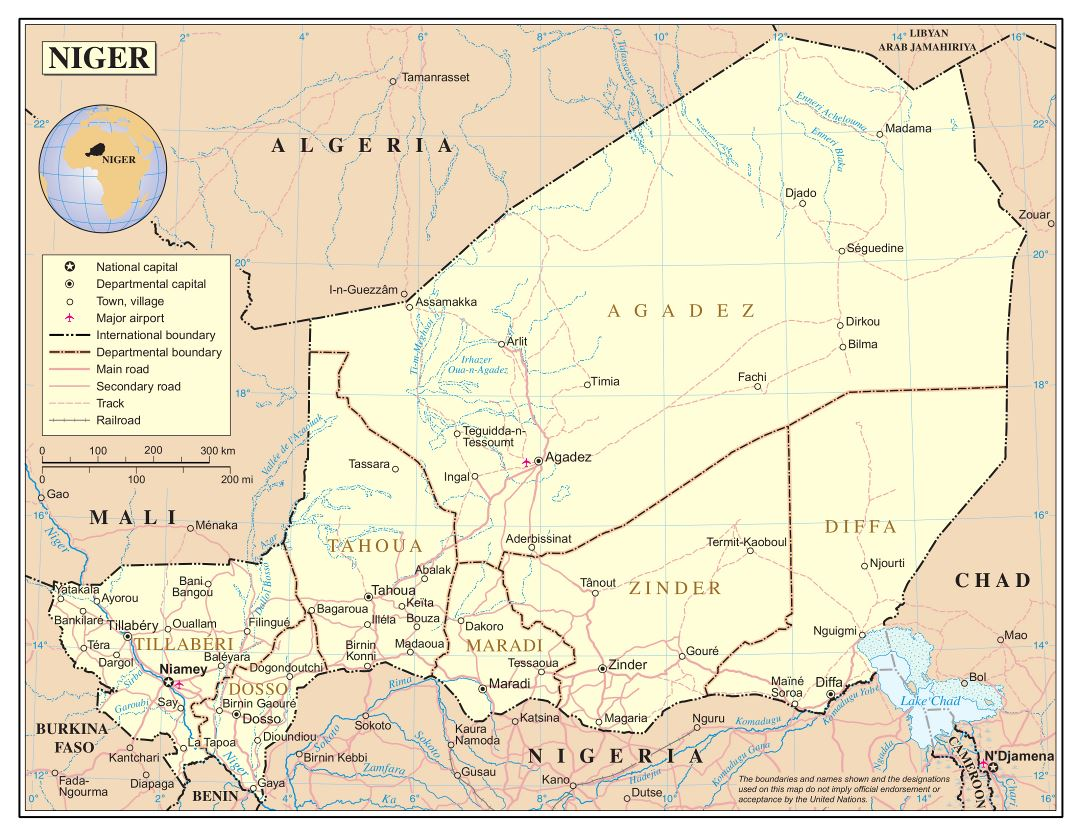 Large detailed political and administrative map of Niger with roads, railroads, cities and airports