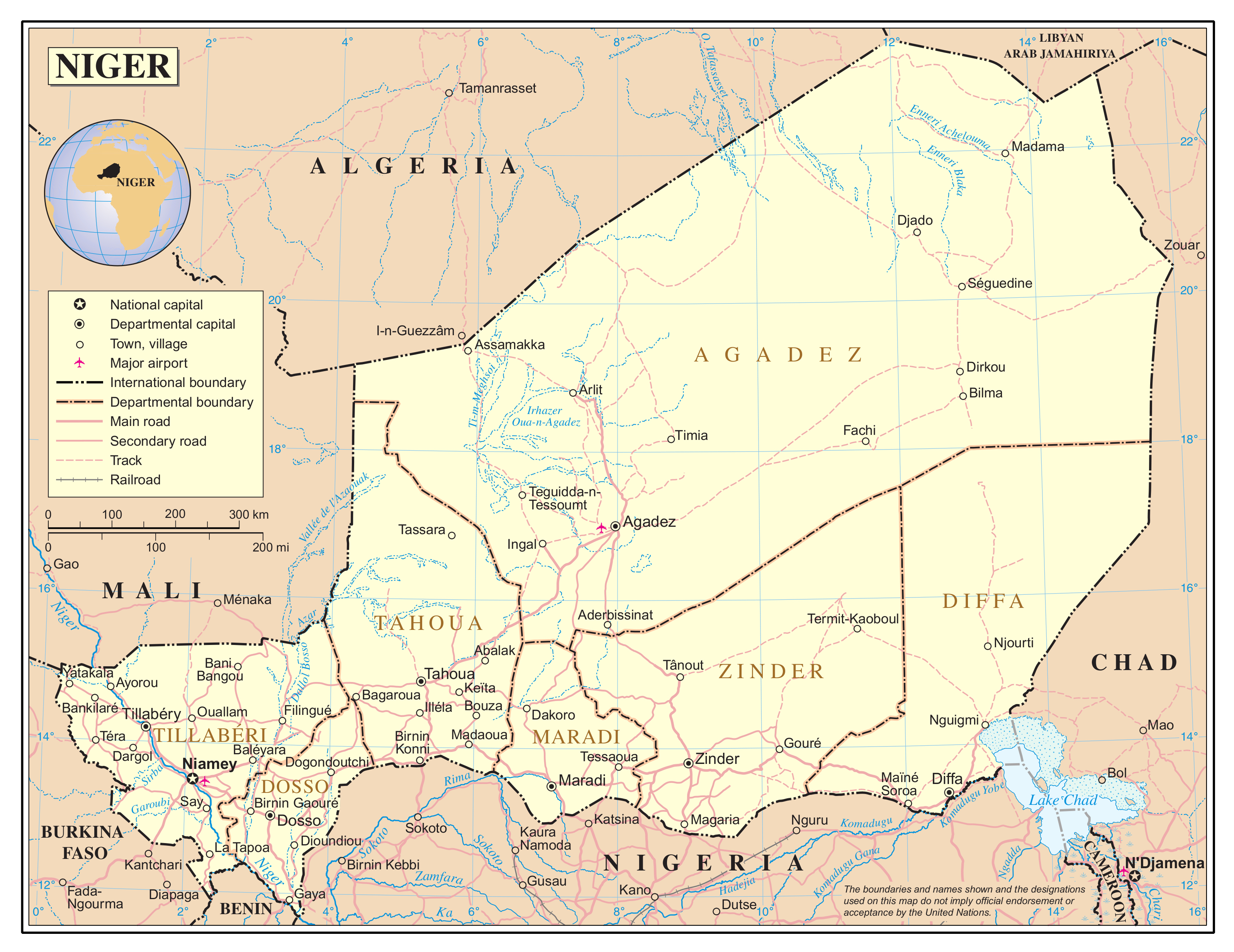 Large detailed political and administrative map of Niger with roads