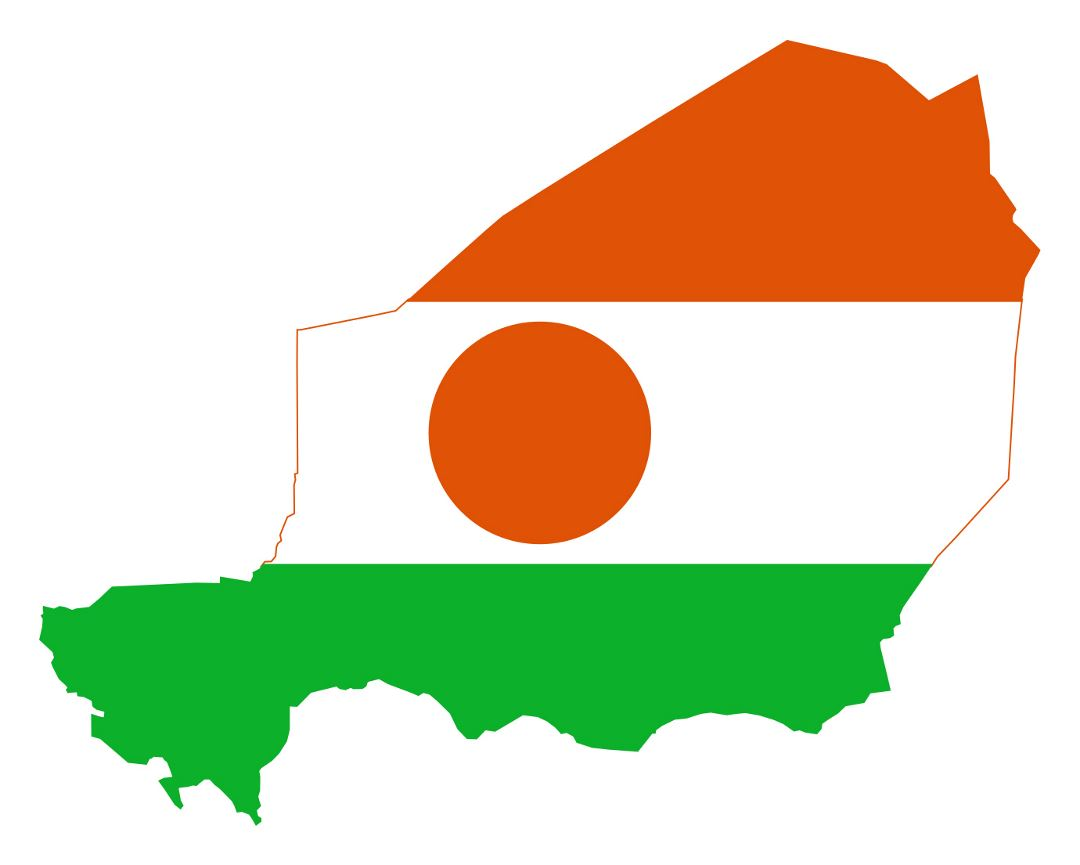 Large flag map of Niger