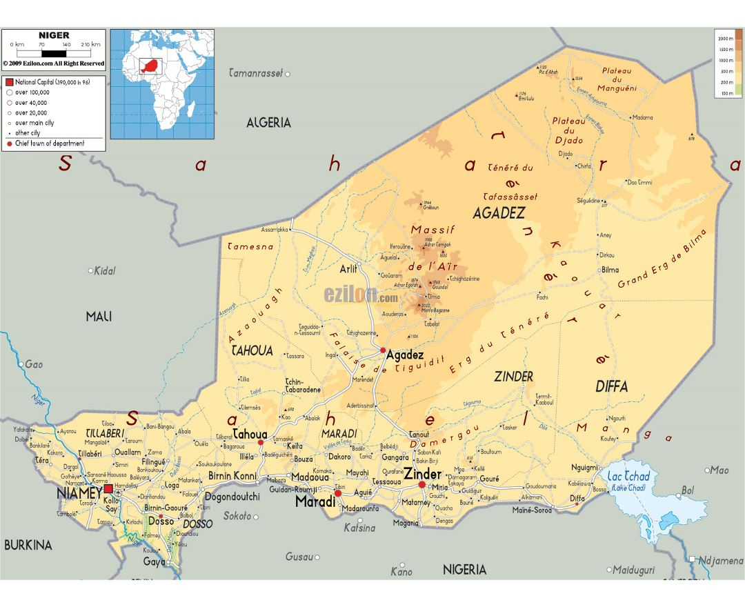 Maps Of Niger Detailed Map Of Niger In English Tourist Map - Algeria physical map