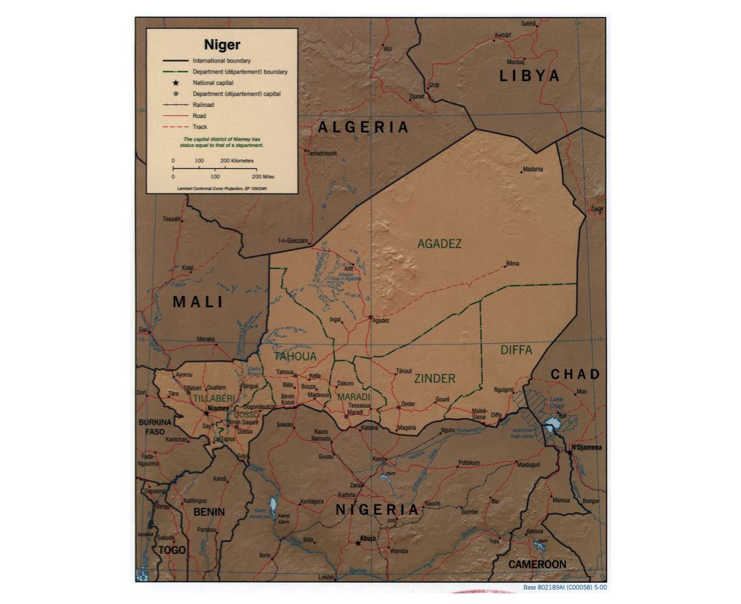 Maps of niger detailed map of niger in english tourist map large political and administrative map of niger with relief roads railroads and major cities ccuart Gallery