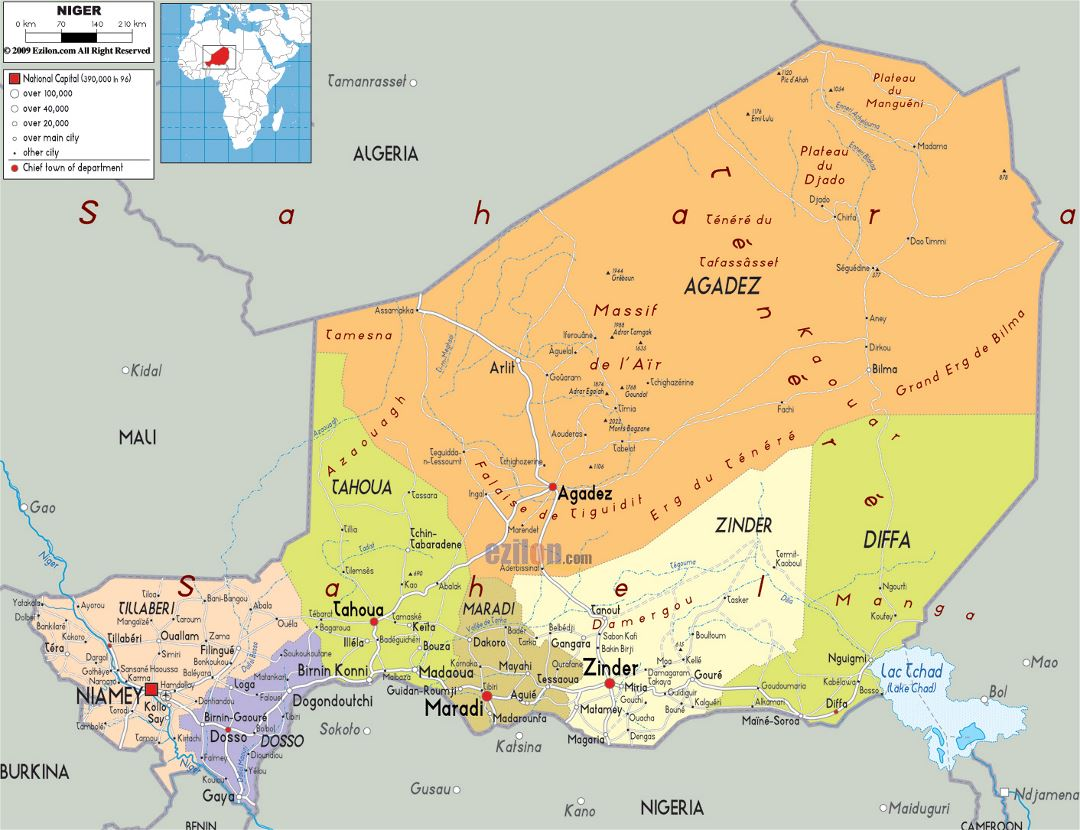 Large political and administrative map of Niger with roads, cities and airports