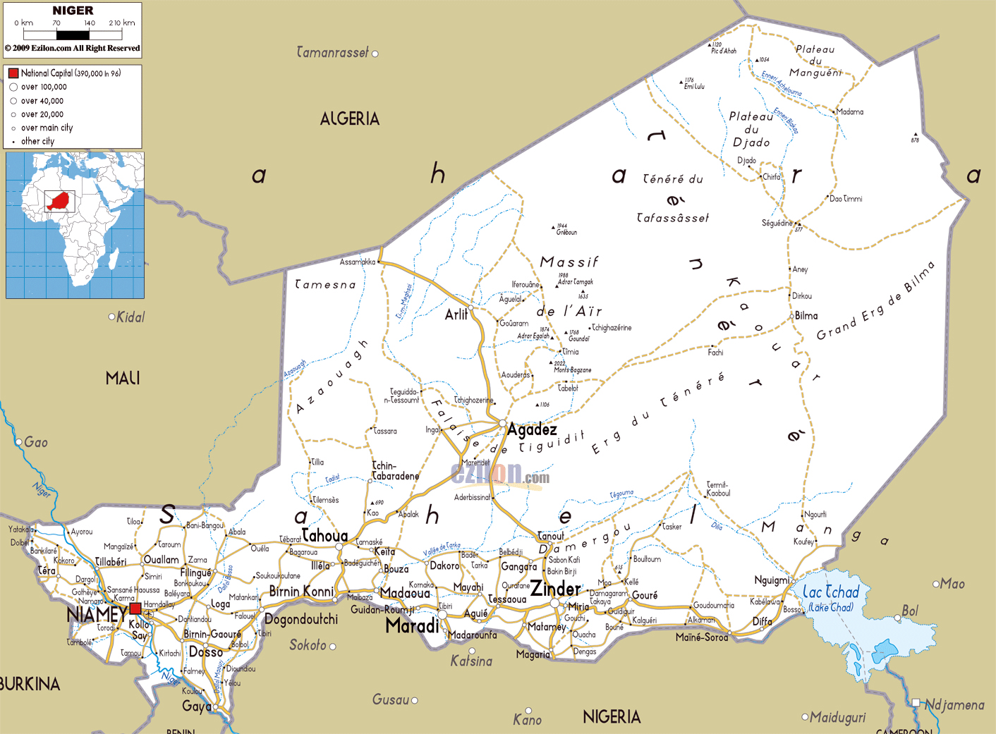 Large road map of Niger with cities and airports | Niger | Africa ...