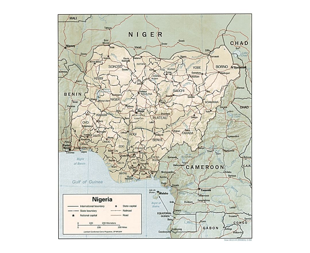 Detailed political and administrative map of Nigeria with relief, roads, railroads and major cities - 1993