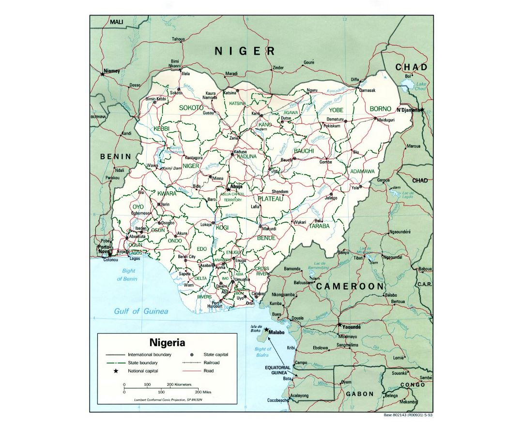 Detailed political and administrative map of Nigeria with roads, railroads and major cities - 1993
