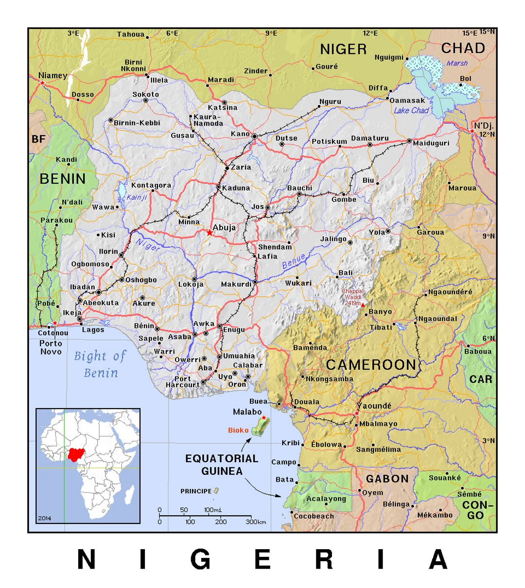 Detailed political map of Nigeria with relief