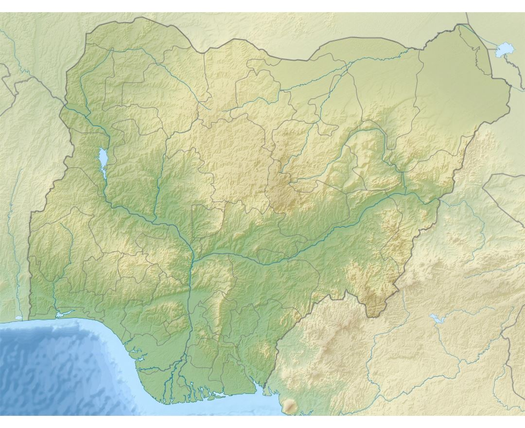 Detailed relief map of Nigeria