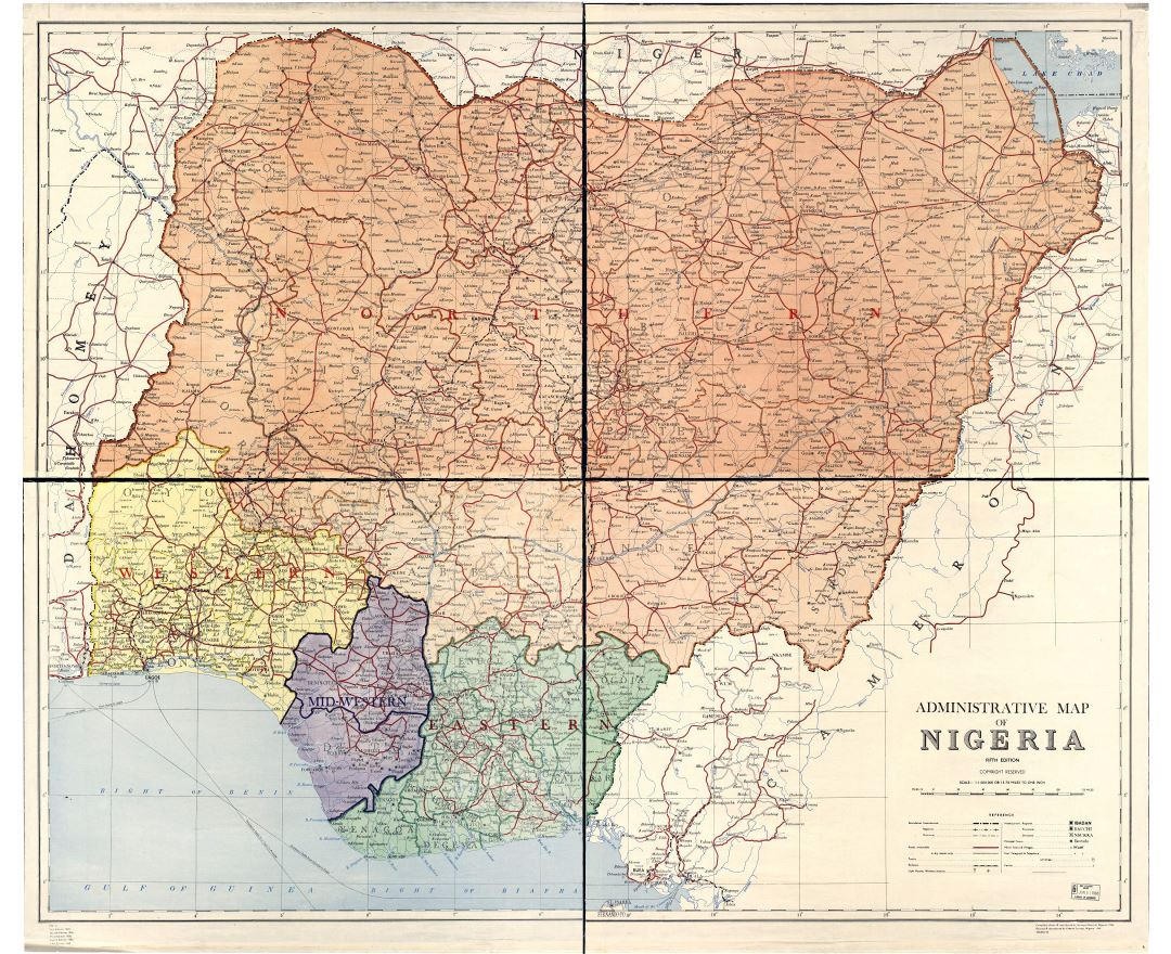 Large detailed administrative map of Nigeria - 1965