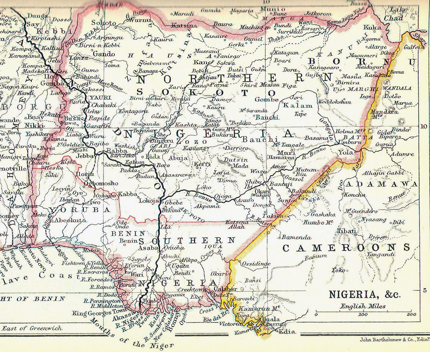 Large detailed old map of Southern and Northern Nigeria 1914