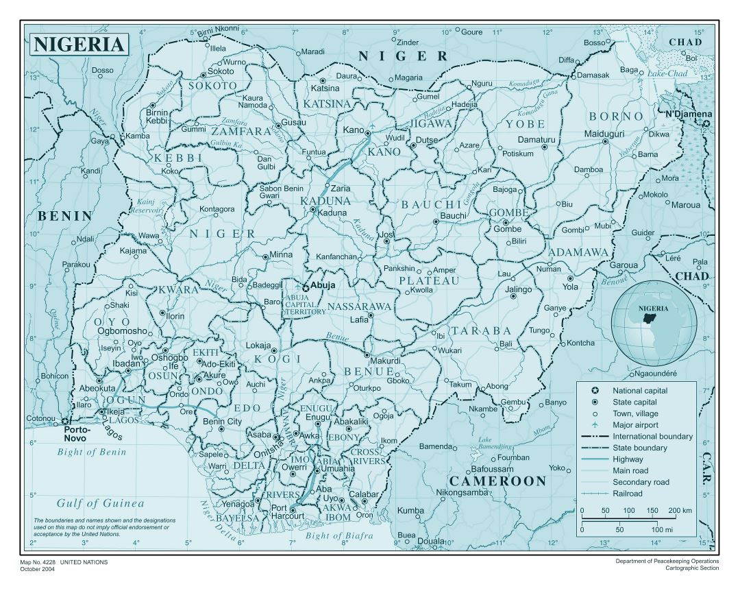 Large detailed political and administrative map of Nigeria with all roads, railroads, cities and airports