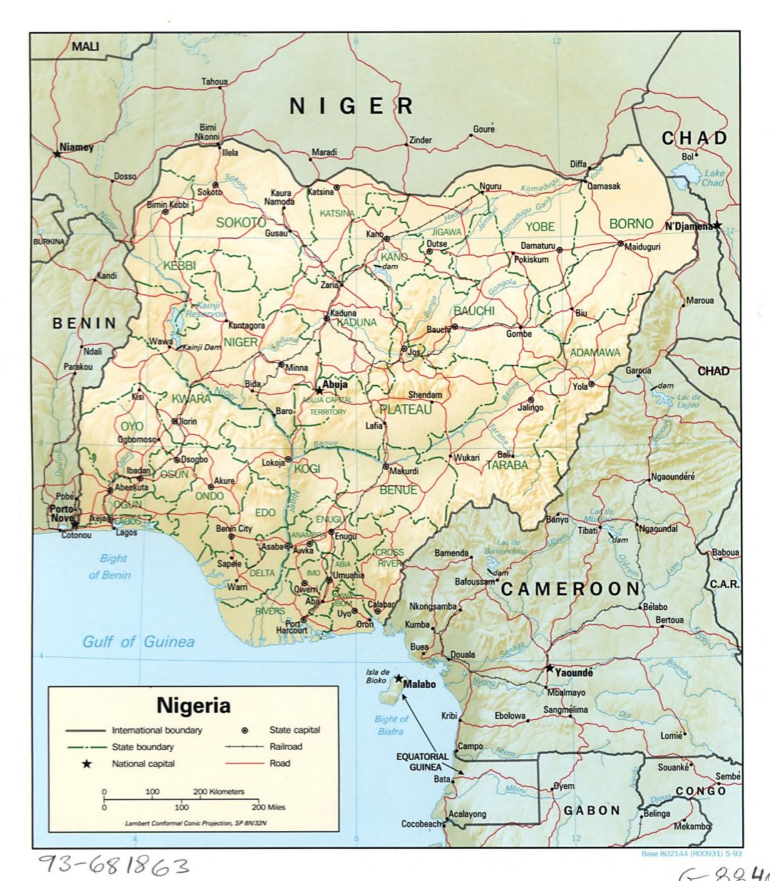 Large detailed political and administrative map of Nigeria with relief, roads, railroads and major cities - 1993